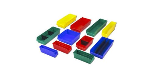 used plastic shelf bins